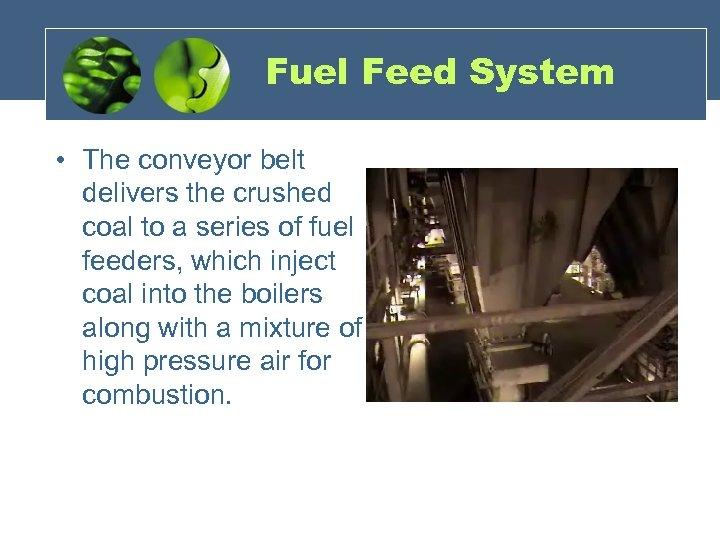 Fuel Feed System • The conveyor belt delivers the crushed coal to a series
