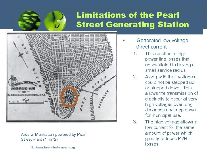 Limitations of the Pearl Street Generating Station • Generated low voltage direct current 1.