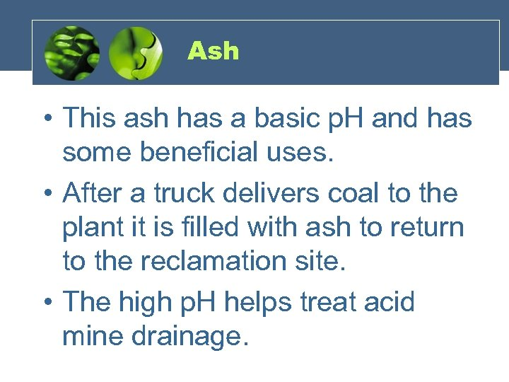 Ash • This ash has a basic p. H and has some beneficial uses.