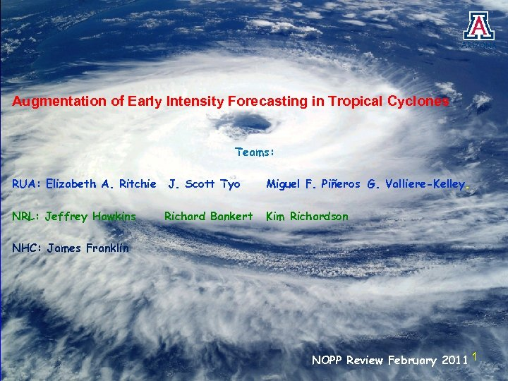 Augmentation of Early Intensity Forecasting in Tropical Cyclones Teams: RUA: Elizabeth A. Ritchie J.