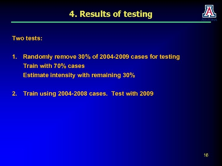 4. Results of testing Two tests: 1. Randomly remove 30% of 2004 -2009 cases
