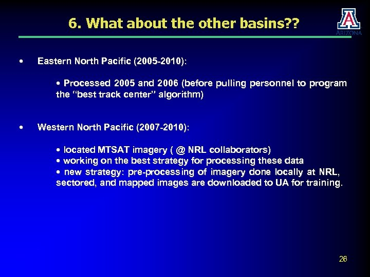6. What about the other basins? ? • Eastern North Pacific (2005 -2010): •