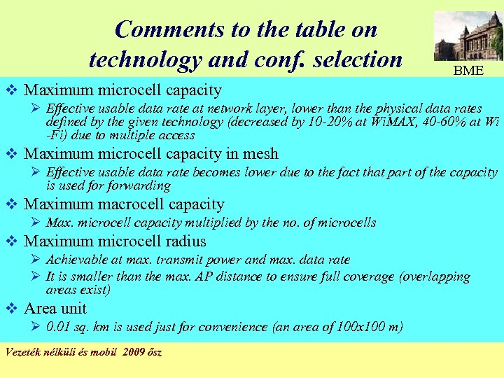 Comments to the table on technology and conf. selection BME v Maximum microcell capacity