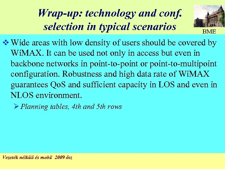Wrap-up: technology and conf. selection in typical scenarios BME v Wide areas with low