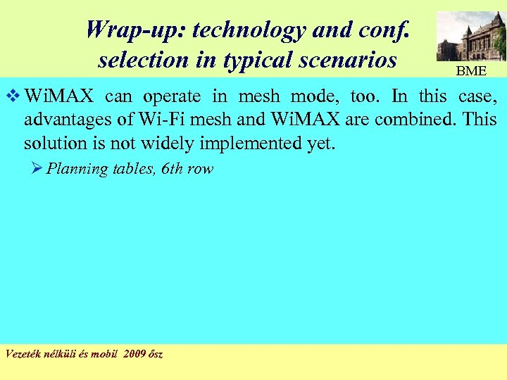 Wrap-up: technology and conf. selection in typical scenarios BME v Wi. MAX can operate