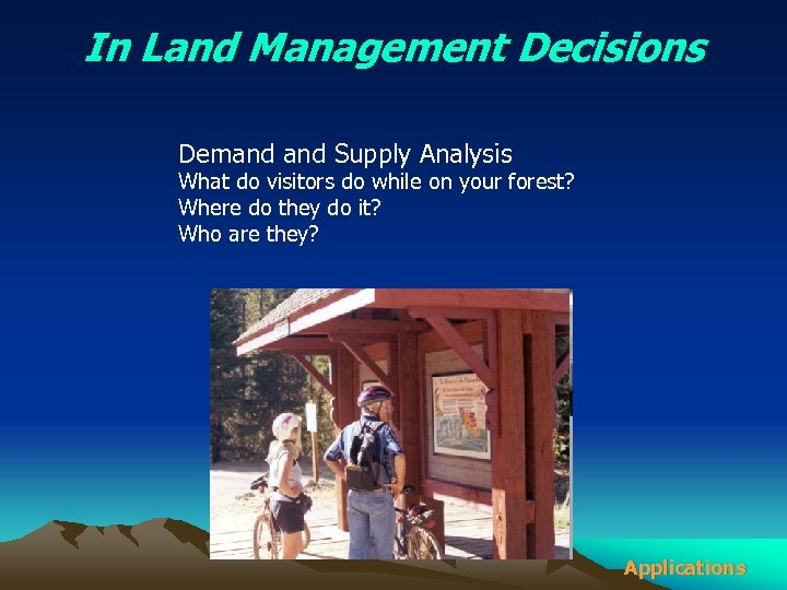 In Land Management Decisions Demand Supply Analysis What do visitors do while on your