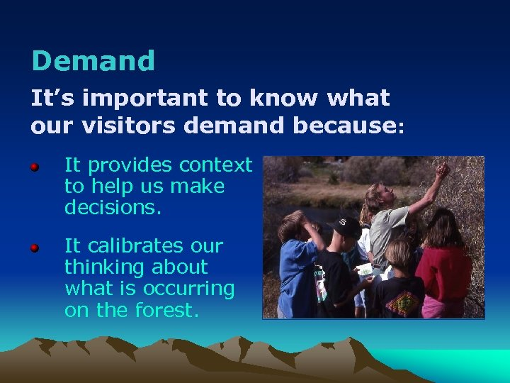 Demand It's important to know what our visitors demand because: It provides context to