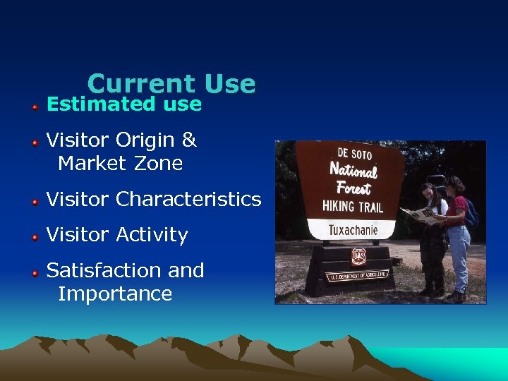Current Use Estimated use Visitor Origin & Market Zone Visitor Characteristics Visitor Activity Satisfaction