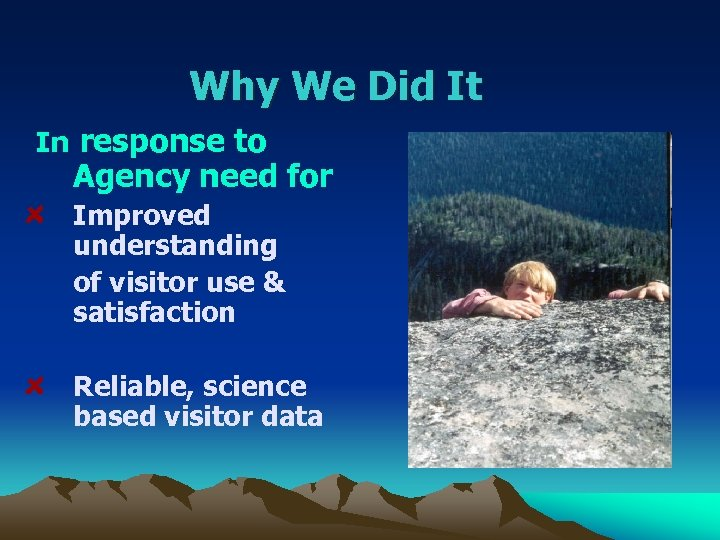 Why We Did It In response to Agency need for Improved understanding of visitor