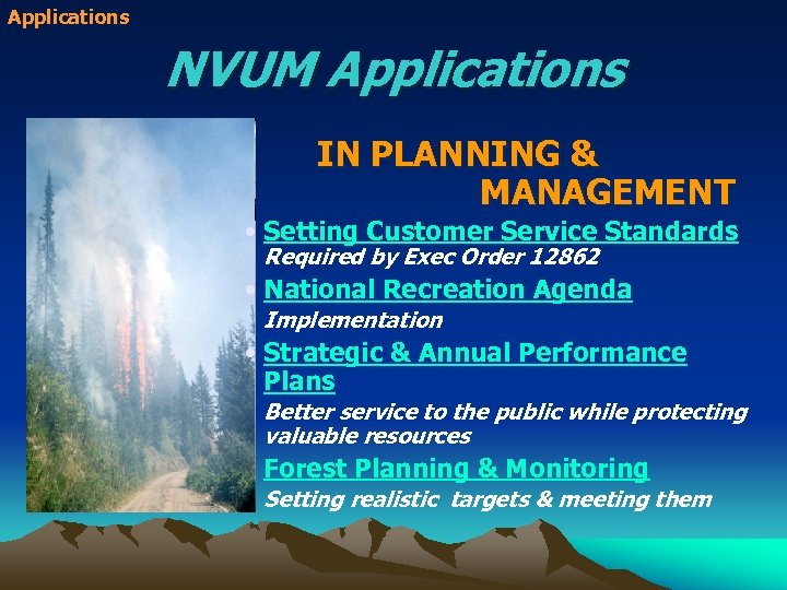 Applications NVUM Applications IN PLANNING & MANAGEMENT • Setting Customer Service Standards Required by