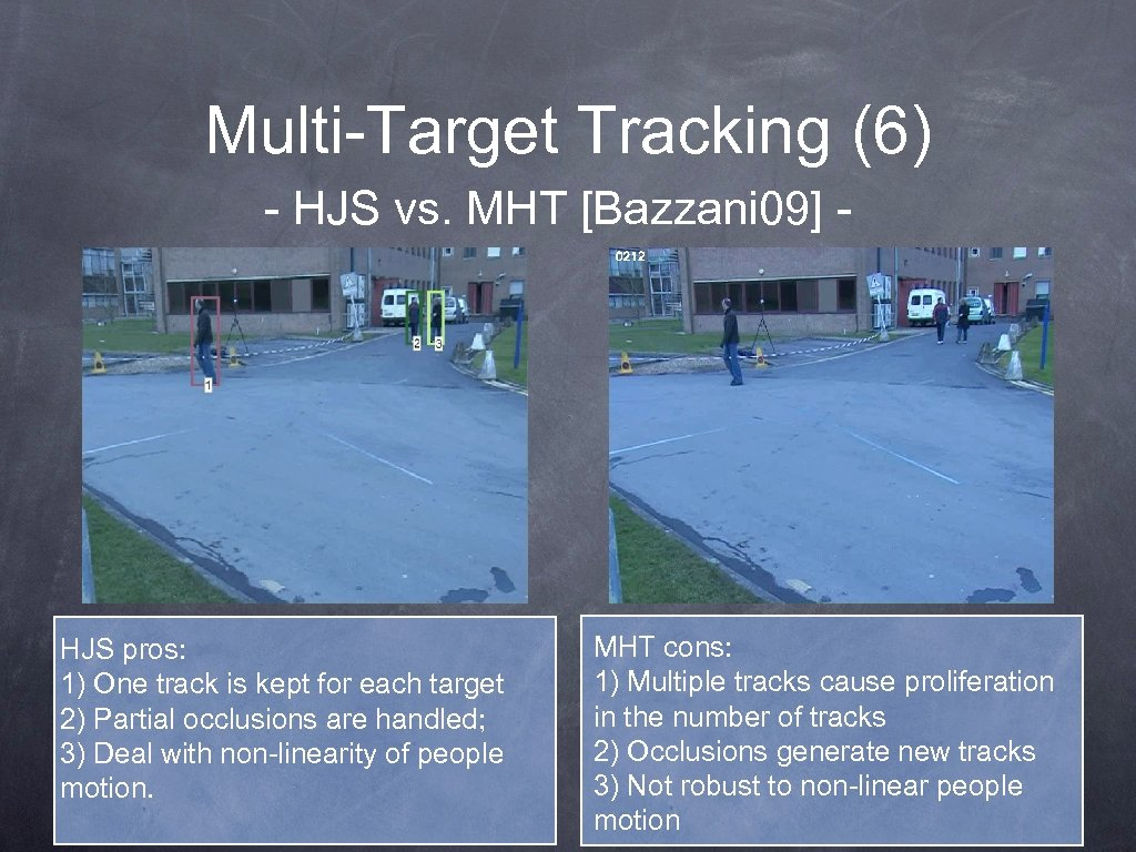 Multi-Target Tracking (6) - HJS vs. MHT [Bazzani 09] - HJS pros: 1) One