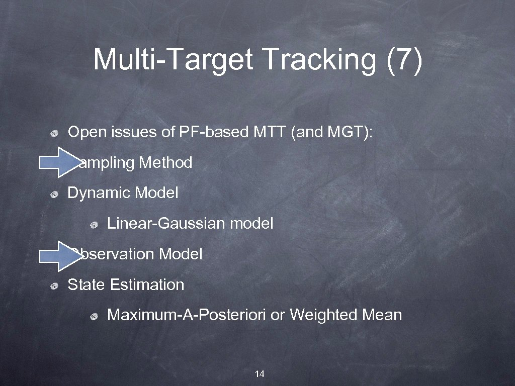 Multi-Target Tracking (7) Open issues of PF-based MTT (and MGT): Sampling Method Dynamic Model