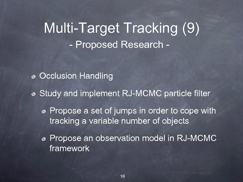 Multi-Target Tracking (9) - Proposed Research Occlusion Handling Study and implement RJ-MCMC particle filter
