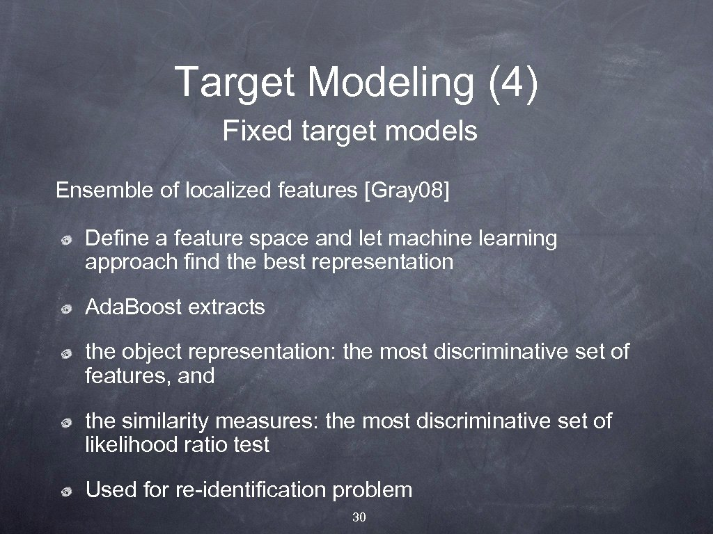 Target Modeling (4) Fixed target models Ensemble of localized features [Gray 08] Define a