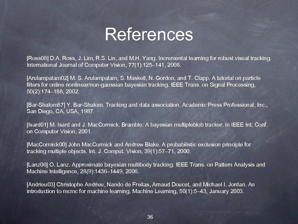 References [Ross 08] D. A. Ross, J. Lim, R. S. Lin, and M. H.