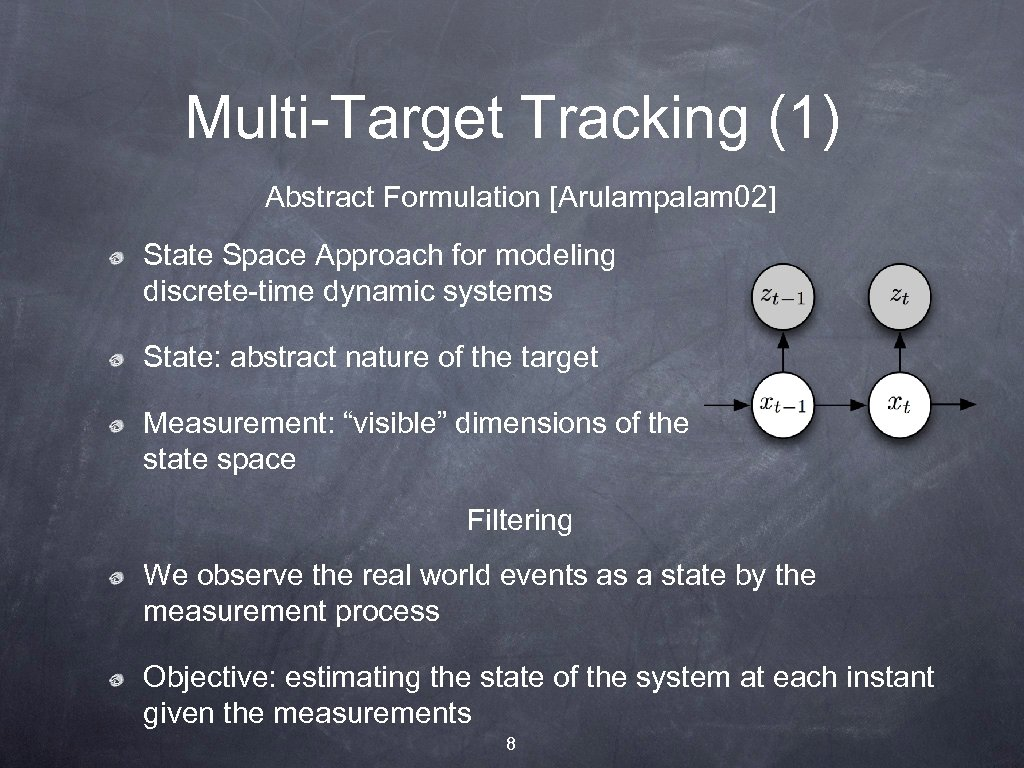 Multi-Target Tracking (1) Abstract Formulation [Arulampalam 02] State Space Approach for modeling discrete-time dynamic