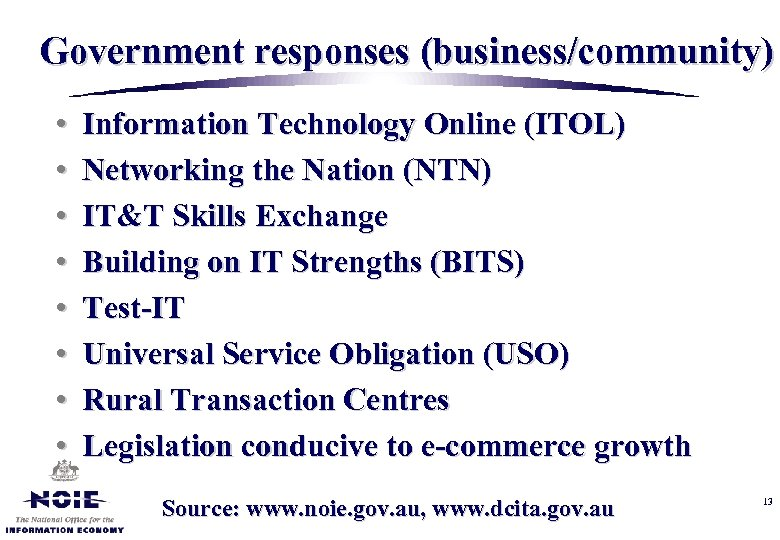 Government responses (business/community) • • Information Technology Online (ITOL) Networking the Nation (NTN) IT&T