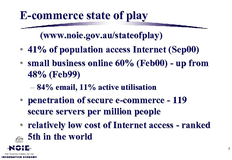 E-commerce state of play (www. noie. gov. au/stateofplay) • 41% of population access Internet