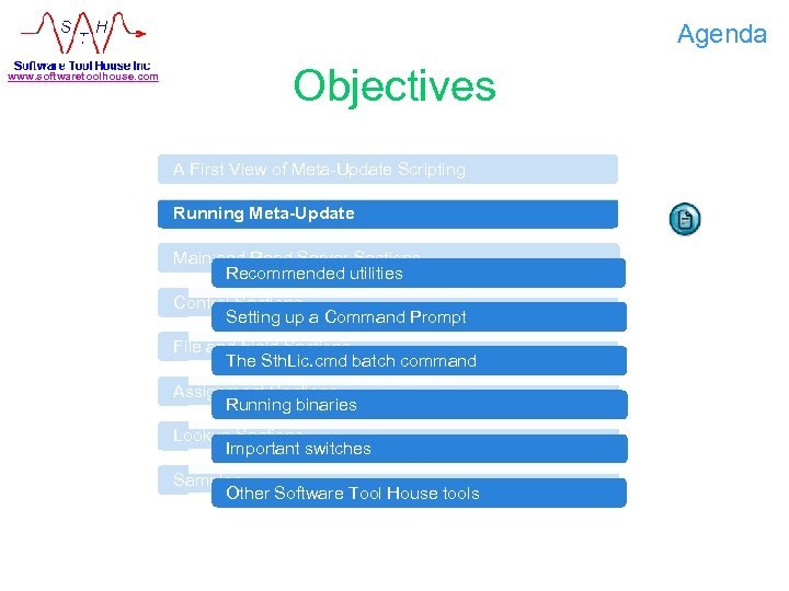 Agenda www. softwaretoolhouse. com Objectives A First View of Meta-Update Scripting Running Meta-Update Main