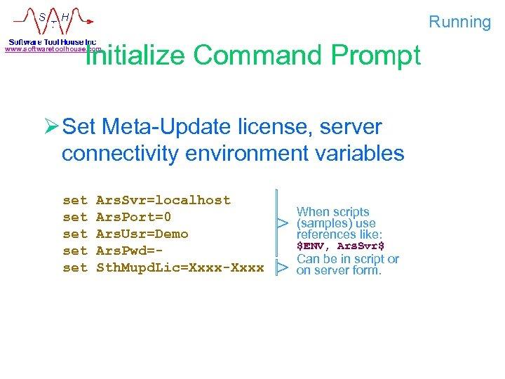 Running Initialize Command Prompt www. softwaretoolhouse. com Ø Set Meta-Update license, server connectivity environment