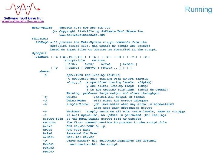 Running www. softwaretoolhouse. com Meta-Update Version 4. 80 for ARS lib 7. 0 (c)