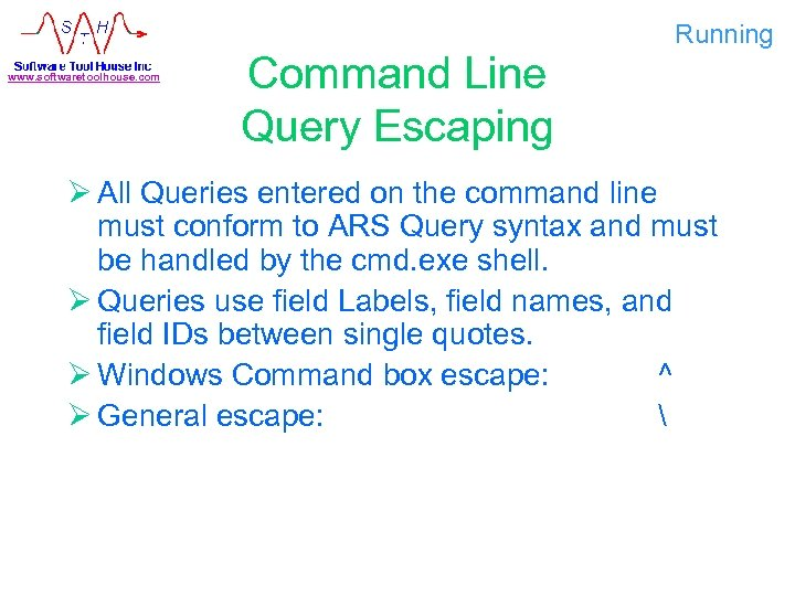www. softwaretoolhouse. com Command Line Query Escaping Running Ø All Queries entered on the