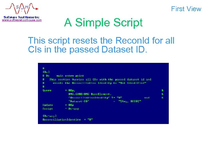 First View www. softwaretoolhouse. com A Simple Script This script resets the Recon. Id