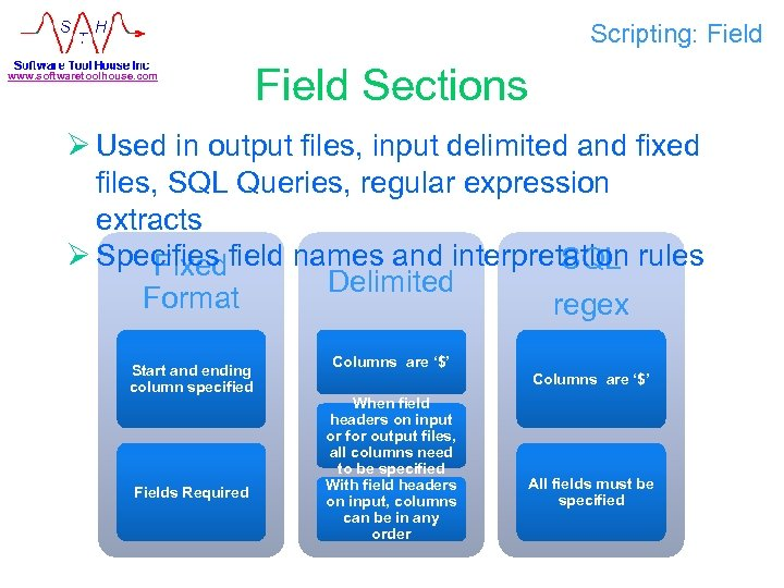 Scripting: Field www. softwaretoolhouse. com Field Sections Ø Used in output files, input delimited