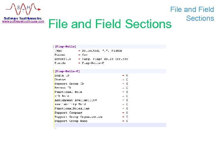 www. softwaretoolhouse. com File and Field Sections