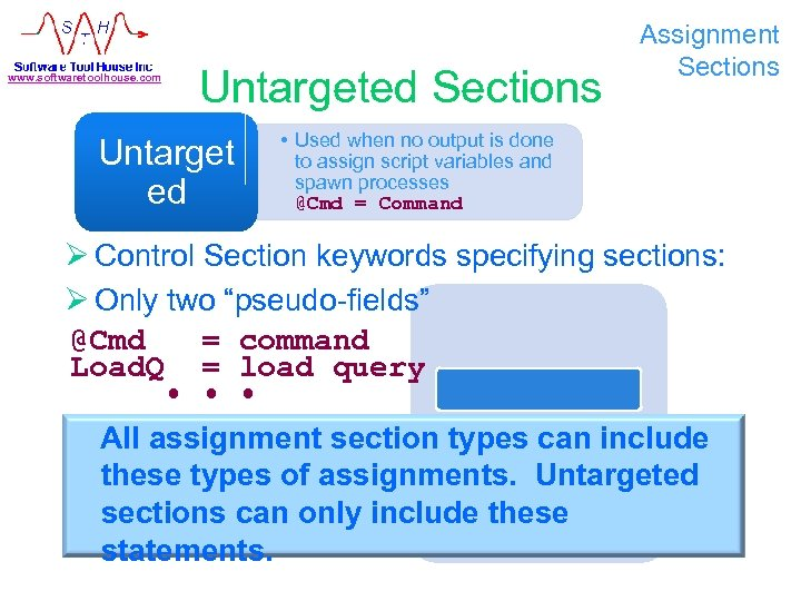 www. softwaretoolhouse. com Untargeted Sections Untarget ed Assignment Sections • Used when no output