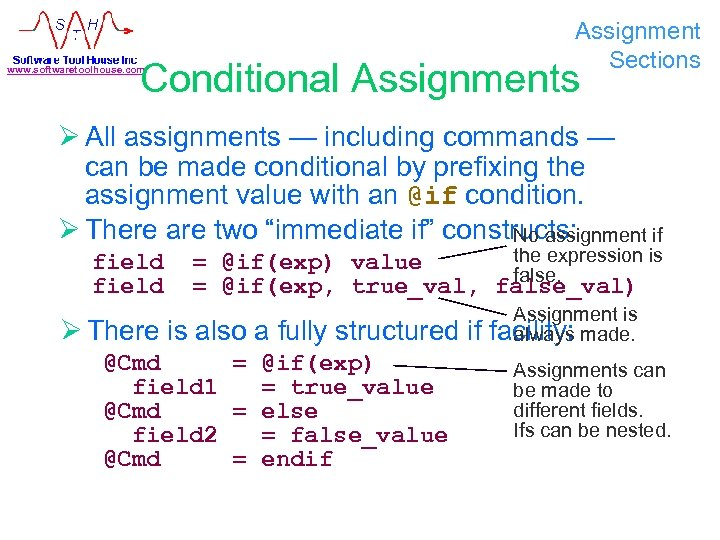 Assignment Sections Conditional Assignments www. softwaretoolhouse. com Ø All assignments — including commands —