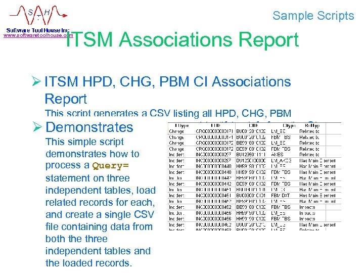 Sample Scripts ITSM Associations Report www. softwaretoolhouse. com Ø ITSM HPD, CHG, PBM CI
