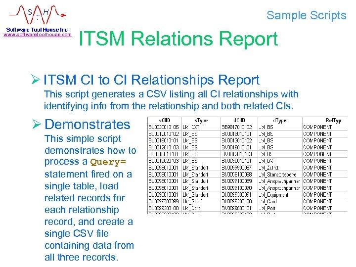 Sample Scripts www. softwaretoolhouse. com ITSM Relations Report Ø ITSM CI to CI Relationships