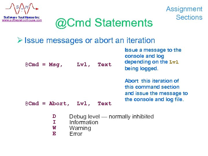 www. softwaretoolhouse. com @Cmd Statements Assignment Sections Ø Issue messages or abort an iteration