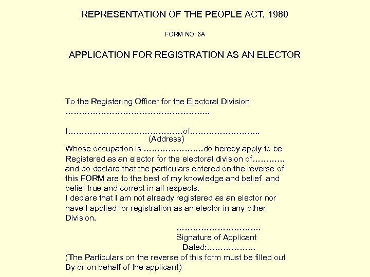 REPRESENTATION OF THE PEOPLE ACT, 1980 FORM NO. 6 A APPLICATION FOR REGISTRATION AS