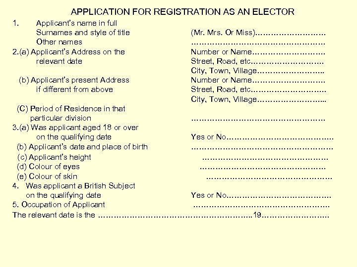 APPLICATION FOR REGISTRATION AS AN ELECTOR 1. Applicant's name in full Surnames and style