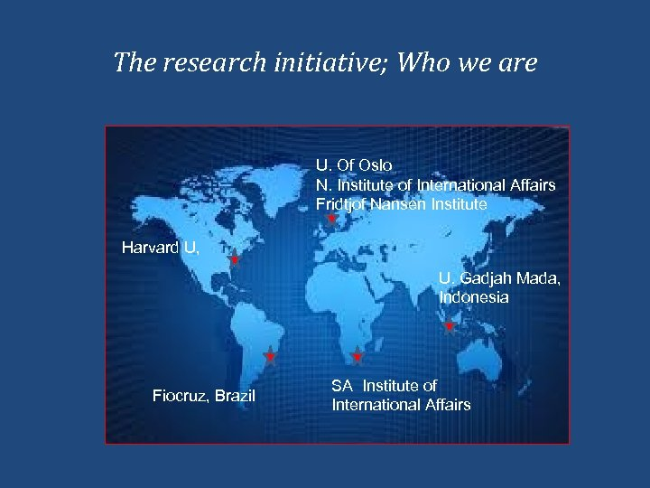 The research initiative; Who we are U. Of Oslo N. Institute of International Affairs