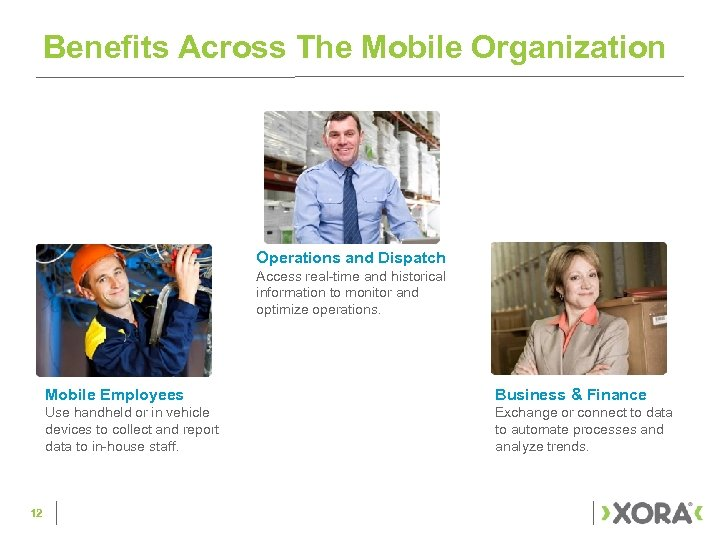 Benefits Across The Mobile Organization Operations and Dispatch Access real-time and historical information to