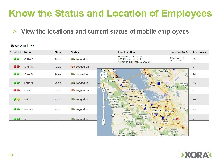 Know the Status and Location of Employees > View the locations and current status