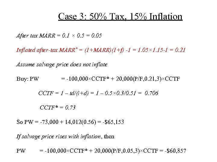 Case 3: 50% Tax, 15% Inflation After tax MARR = 0. 1 × 0.