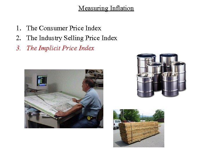 Measuring Inflation 1. The Consumer Price Index 2. The Industry Selling Price Index 3.