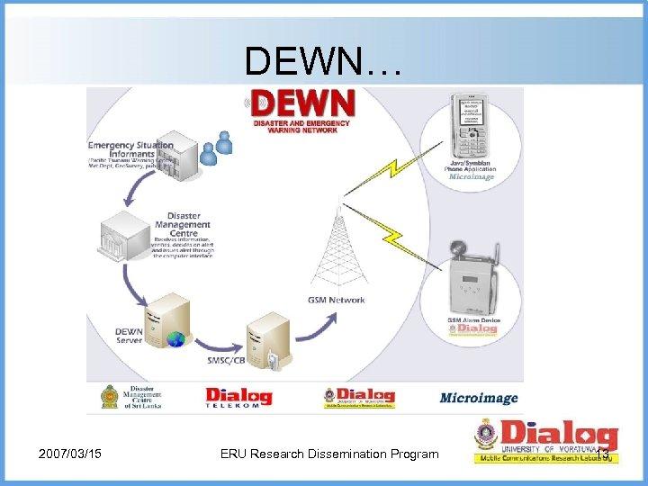 DEWN… 2007/03/15 ERU Research Dissemination Program 13
