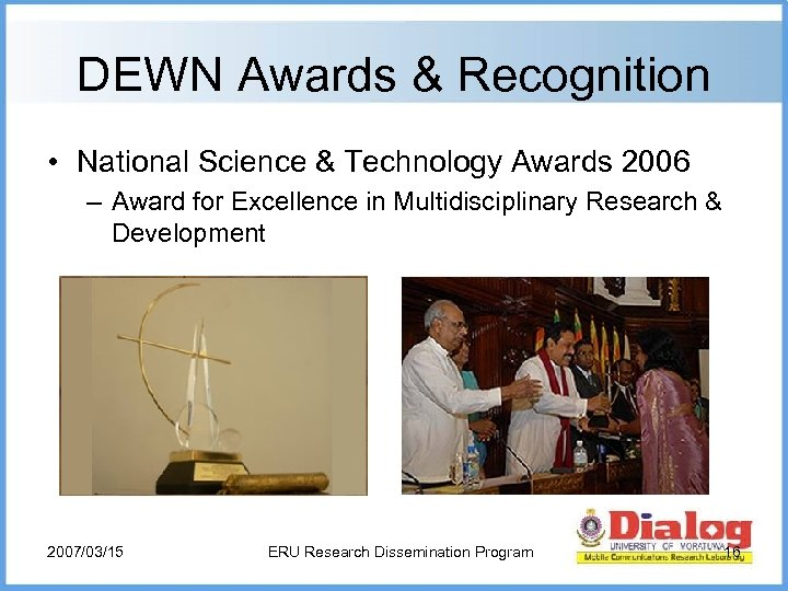 DEWN Awards & Recognition • National Science & Technology Awards 2006 – Award for