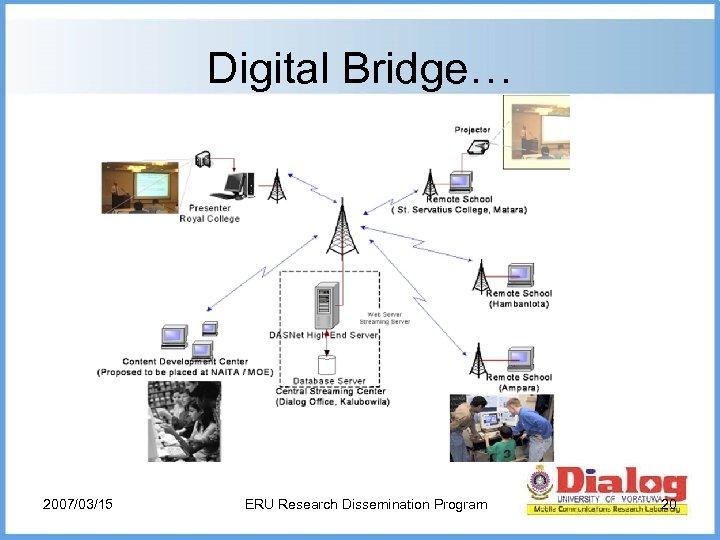 Digital Bridge… 2007/03/15 ERU Research Dissemination Program 20