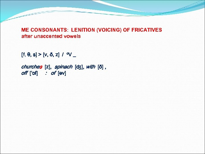 ME CONSONANTS: LENITION (VOICING) OF FRICATIVES after unaccented vowels [f, θ, s] > [v,