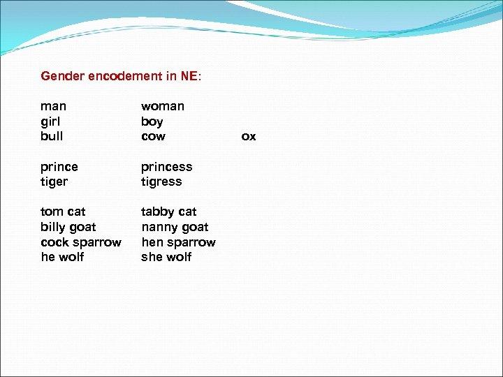 Gender encodement in NE: man girl bull woman boy cow prince tiger princess tigress