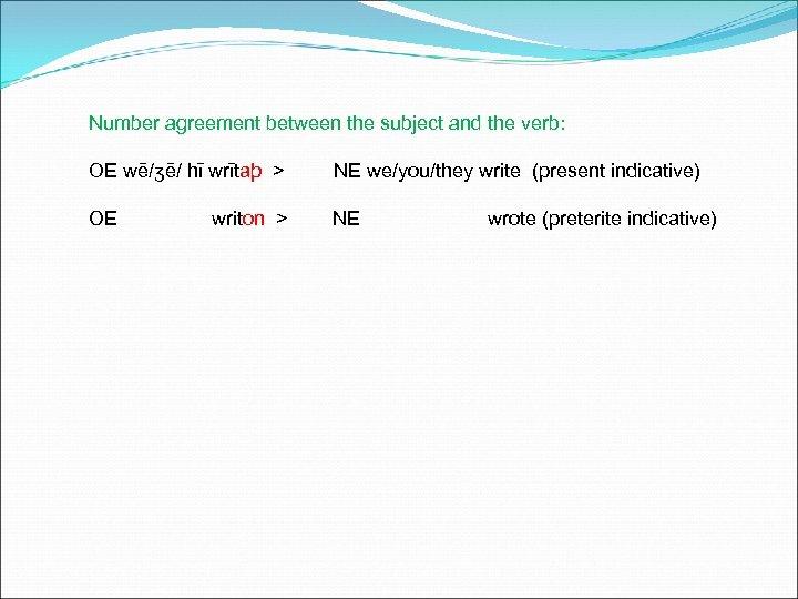 Number agreement between the subject and the verb: OE wē/ʒē/ hī wrītaþ > NE