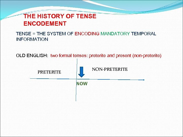 THE HISTORY OF TENSE ENCODEMENT TENSE = THE SYSTEM OF ENCODING MANDATORY TEMPORAL INFORMATION