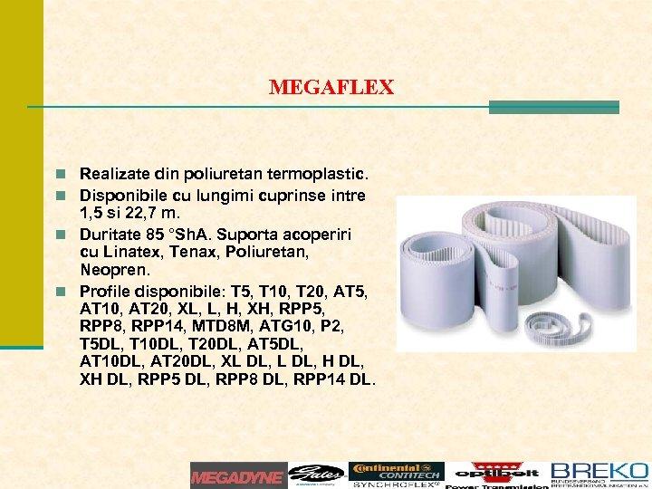 MEGAFLEX n Realizate din poliuretan termoplastic. n Disponibile cu lungimi cuprinse intre 1, 5