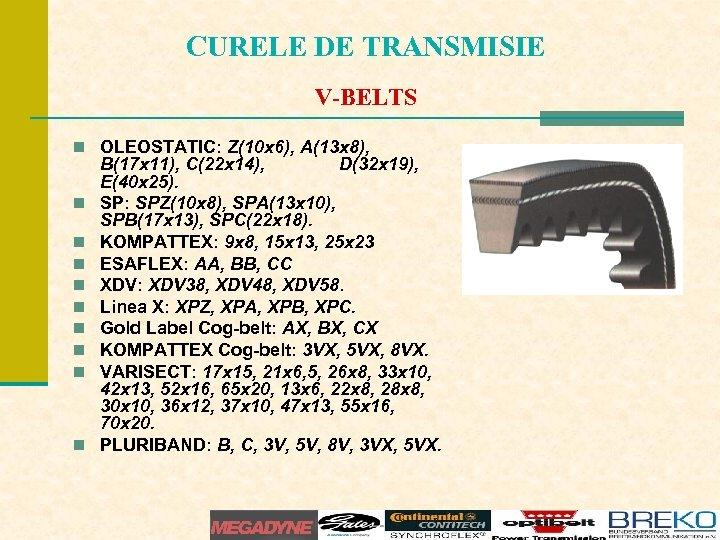 CURELE DE TRANSMISIE V-BELTS n OLEOSTATIC: Z(10 x 6), A(13 x 8), n n